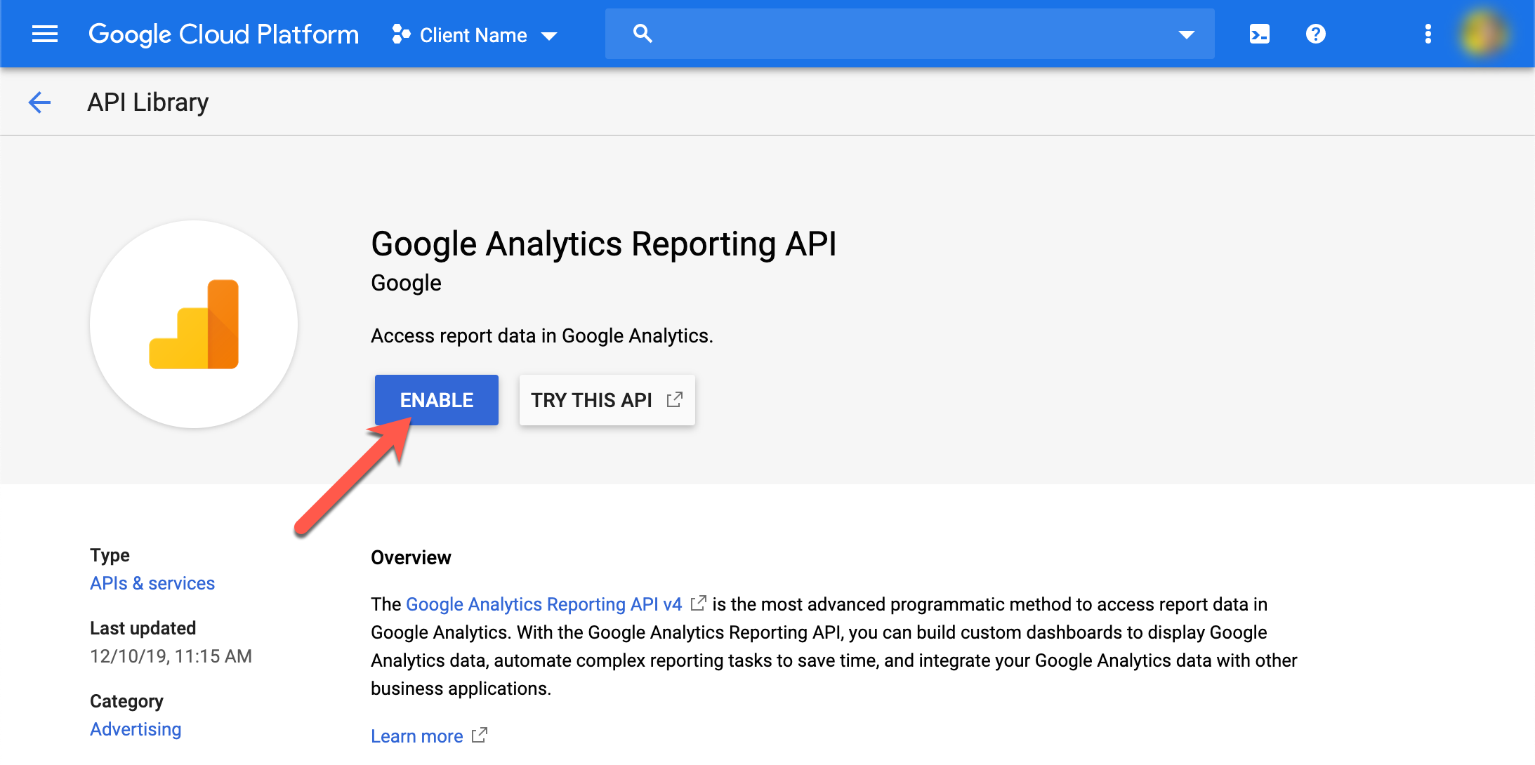 Enable Google Analytics Reporting API
