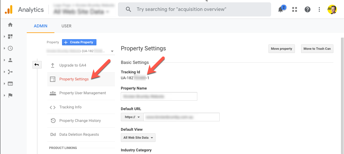 Property Settings and Tracking ID